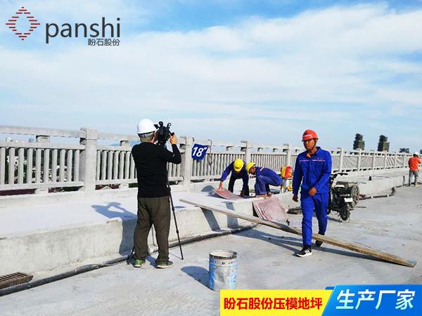 南京电视台正在采访盼石股份压模地坪施工现场1